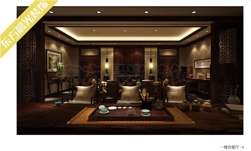 培训桌_会所中式装修会客厅设计效果图_CO土木在线