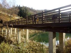安康石泉鬼谷岭景区公园木塑地板栈道塑木栏杆安装完成