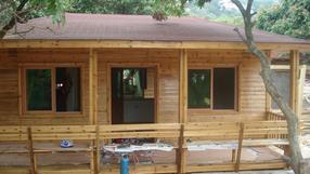 青岛防腐木木房子,防腐木阳光房设计施工