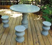 草灰色圆形花岗岩桌椅套装gcf405a+405b