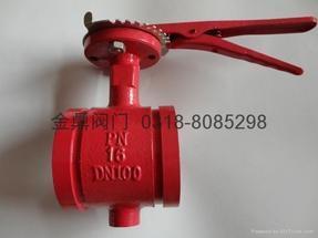D81X消防手柄沟槽蝶阀