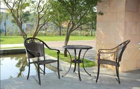 湖南衡阳名牌户外家具庭院铸铝桌椅五件套工厂订做报价