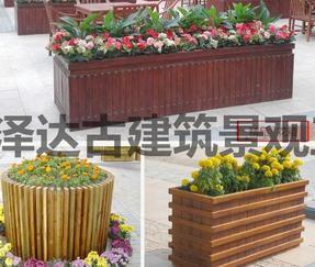 创意花箱景观花盆防腐木户外花园种植山东潍坊青州临朐