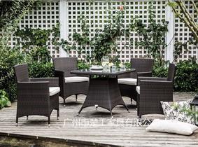 定制餐厅花园藤椅 PE仿藤露天餐桌椅 户外休闲藤椅组合