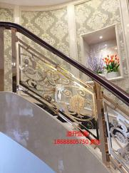 雕花别墅铜楼梯护栏工艺屏风设计加工