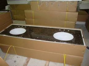 金镶玉大理石浴室台面双槽QD-VANITY 2013004-1