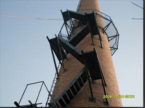 虎林烟囱安装旋转梯|烟囱折梯安装|烟囱安装检测平台