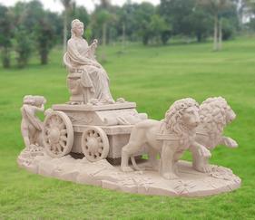 MGP229大理石古代人物狮子雕像