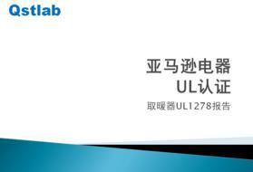 美国亚马逊小型取暖器UL1272报告