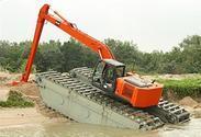 新疆水上挖掘机租赁、出租,水陆挖掘机整机18573609999