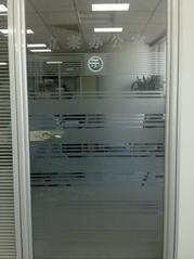 北京磨砂玻璃纸刻字、玻璃防撞条 LOGO标志贴