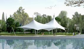 张拉膜遮阳蓬,沙滩遮阳伞膜结构