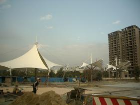 建筑入口及膜建筑屋顶张拉膜结构