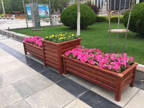 兰州仿木铝合金花箱,景观绿化花坛,铝合金隔离花槽