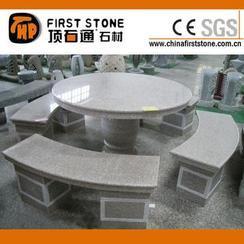 粉色花岗岩弧形圆桌椅GCF4011