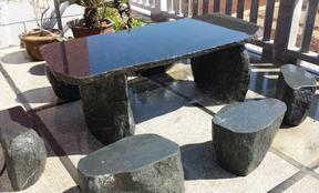 GCF4020莆田黑色花岗岩桌椅套装