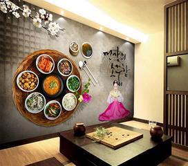 连锁餐厅主题壁纸定制 餐饮文化3D背景墙壁画