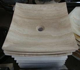 SINK 395M哑光方形手工洞石盆