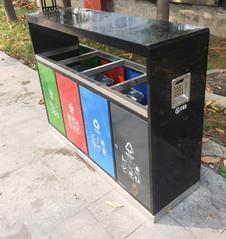 太原塑木垃圾桶生产厂家新款推出钢板四色分类垃圾桶