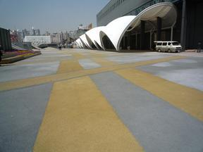 彩色透水混凝土、防滑路面材料供��