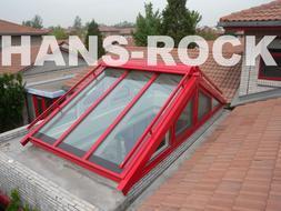 北京欧陆苑装修案例+红色经典设计+纯进口铝木复合阳光顶
