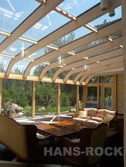 弧形铝木复合阳光房+德国纯进口
