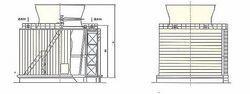 横流式玻璃钢钢框架结构冷却塔