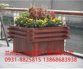 兰州防腐木花箱花盆 样式可定做 防腐木花箱