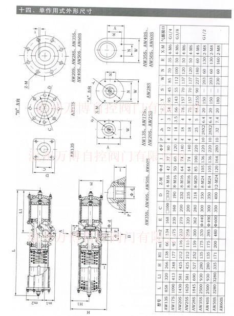 AW单作用气动执行器大口径蝶阀气动头大口径球阀气动头
